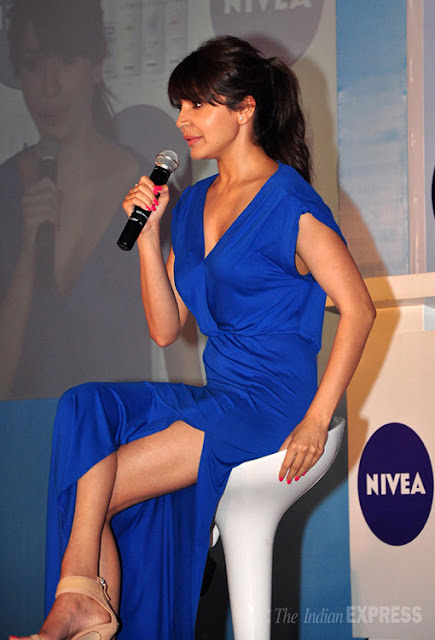 Anushka Sharma in blue thigh high slit dress