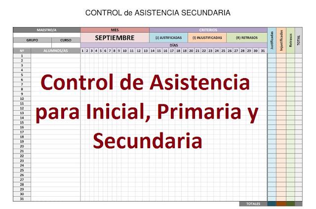 Controles de Asistencia para Inicial, Primaria y Secundaria en Word y Excel