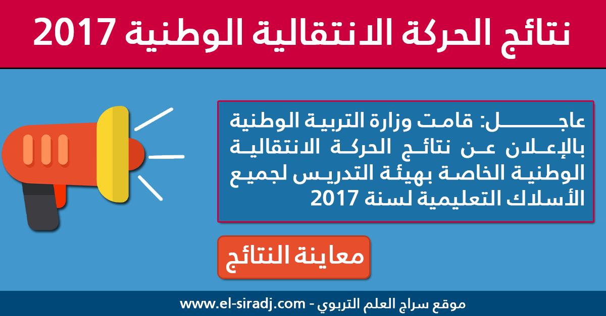 نتائج الحركة الانتقالية الوطنية لهيئة التدريس لسنة 2017