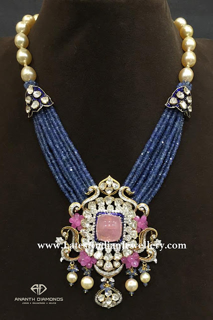 Sapphire Beads with Diamond Polki Pendant