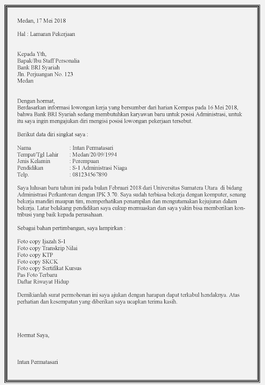 12 Contoh Surat Lamaran Kerja Bank Bri Contoh Surat