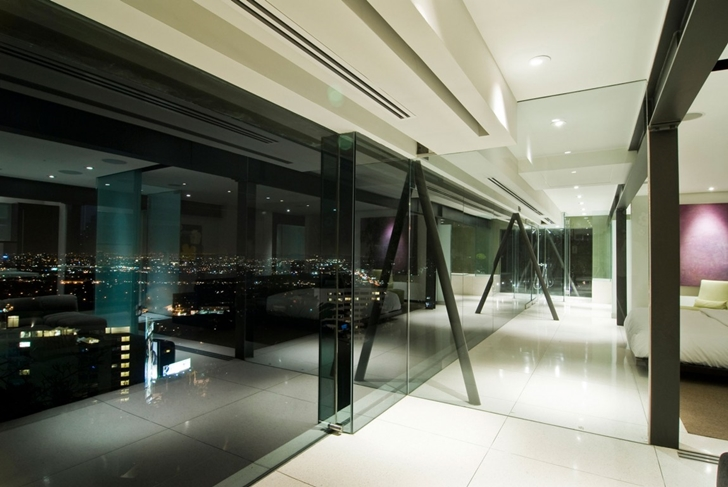 Large glass wall in Hollywood Mansion by Whipple Russell Architects