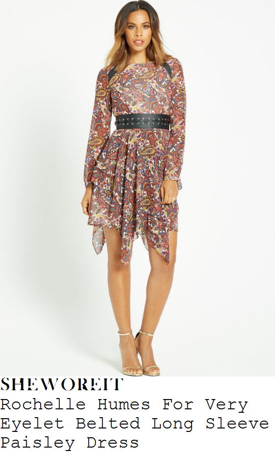 rochelle-humes-rochelle-humes-for-very-orange-blue-multicoloured-and-black-paisley-print-long-sleeve-eyelet-waist-belt-detail-asymmetric-mini-dress