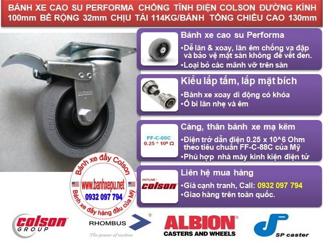 Bánh xe chống tĩnh điện Colson xoay khóa phi 100 | 2-4646-445C-BRK4 www.banhxeday.xyz
