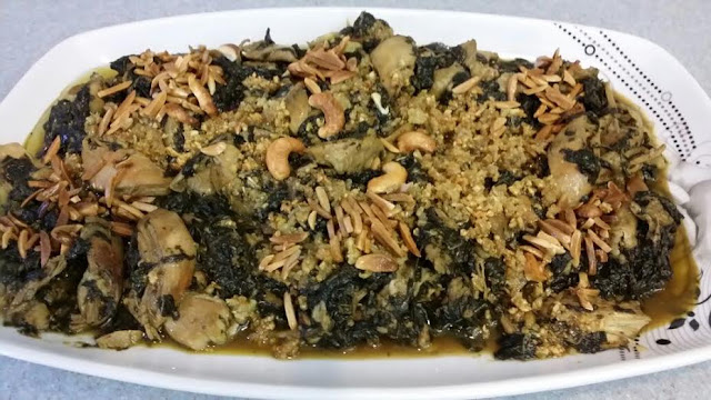 Arabic food:Learning how to make Molokhia or Jew's Mallow for Middle Eastern food