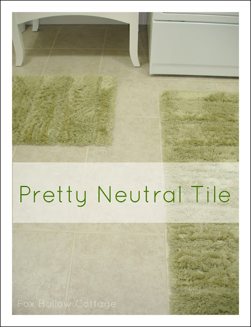 Neutral Floor Tile. DIY Bathroom Makeover