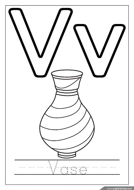 Alphabet coloring page, letter v coloring, v is for vase