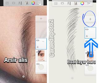 cara membuat alis mata di sketchbook