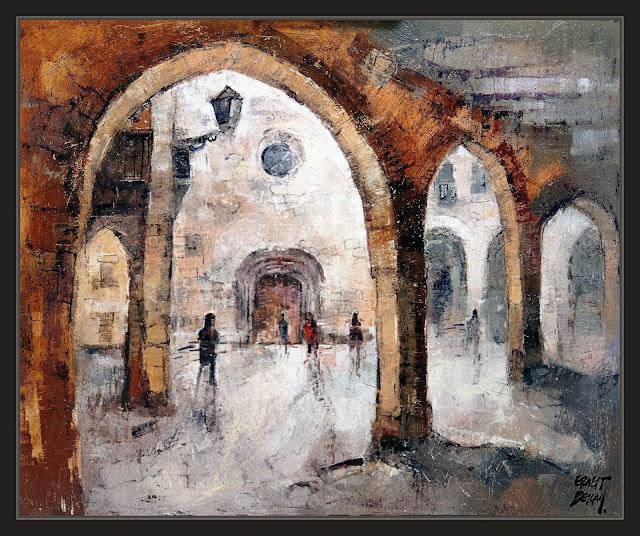 HORTA DE SANT JOAN-PINTURA-ART-PAISATGES-ESGLESIA-VOLTES-PLAÇA-QUADRES-TERRA ALTA-PINTOR-ERNEST DESCALS