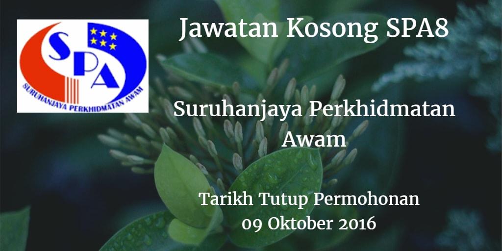 Jawatan Kosong SPA8 09 Oktober 2016