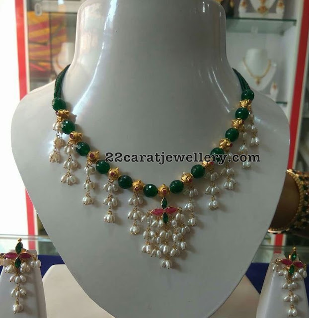Green Jades Rice Pearls Choker