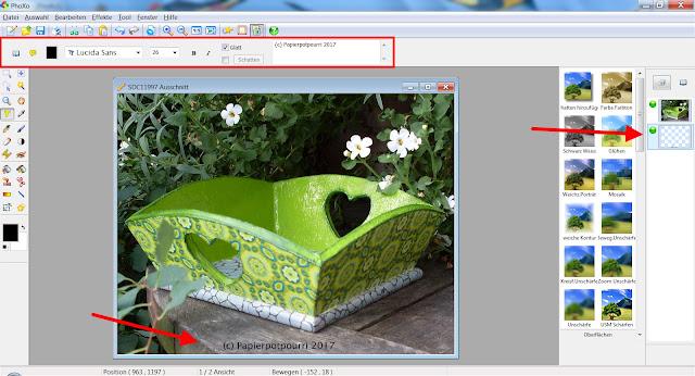 Screenshot PhoXo zum Einfügen von Text