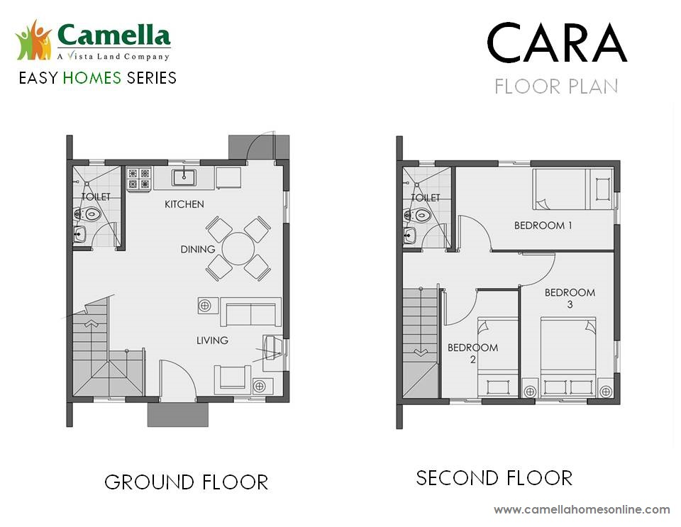 Floor Plan of Cara - Camella Vita Tierra Nevada | House and Lot for Sale General Trias Cavite