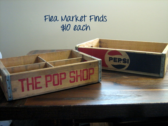 I'm using these vintage soda crates I found at a flea market as decoration and storage space.