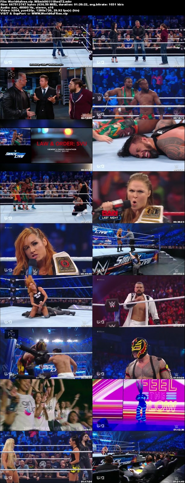 WWE Smackdown Live 06 NOVEMBER 2018 720p HDTV 600MB x264 tv show wwe WWE Smackdown Live 23 OCTOBER 2018 HDTV 480p 650MB x264 compressed small size free download or watch online at world4ufree.fun
