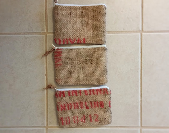 burlap zipper pouch sets handmade by lina and vi, plymouth MI