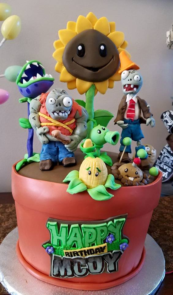 Layers of Love Plants vs Zombies cake