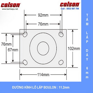 kích thước Bánh xe cao su dùng ổ đũa Colson phi 125 | 4-5108-459 www.banhxepu.net
