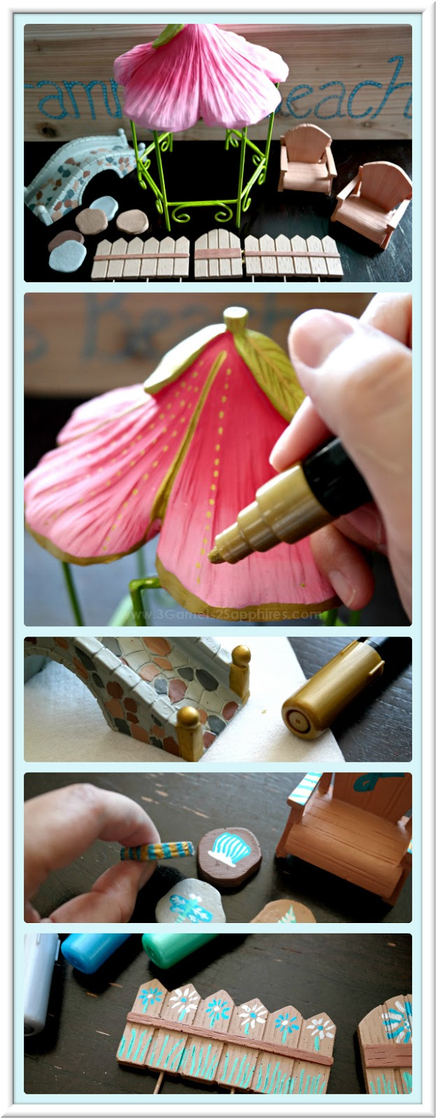How to Decorate Fairy Garden Items with Acrylic Paint Pens  |  3 Garnets & 2 Sapphires