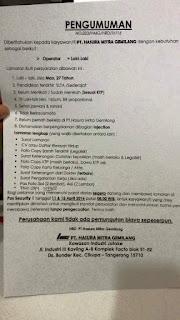 lowongan kerja PT. Hasura Mitra Gemilang
