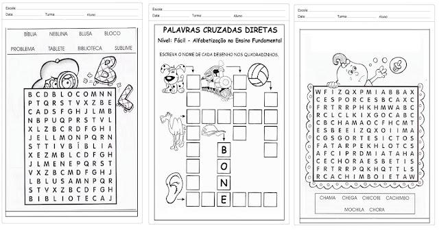 Confira várias atividades prontas para imprimir para trabalhar cruzadinhas, palavras-cruzadas e caça-palavras.
