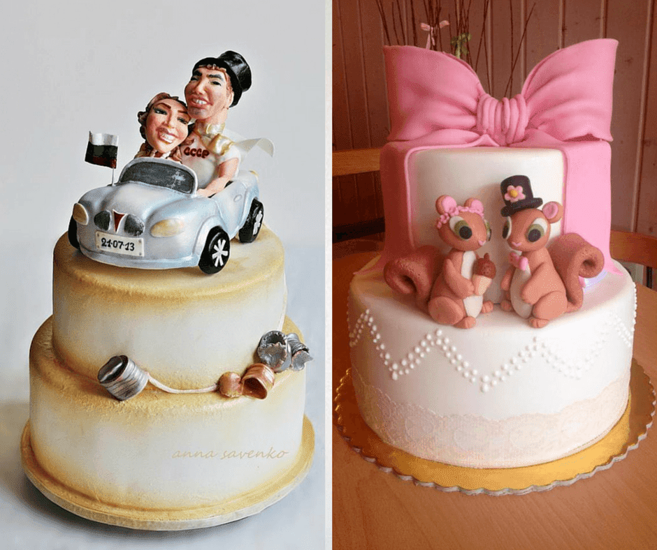 фигурки за сватбена торта младоженци и катерички