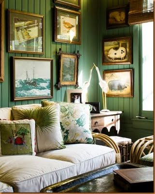 Love The Rich Green Paint Here Looks Like Its Painted Over Beadboard Makes It Feel Warm And Cozy With All Paintings Celerie Kemble