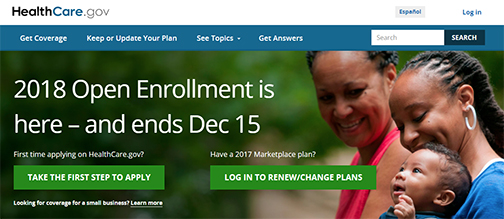 Snapshot from ACA web home page.  Text: 2018 Open Enrollment is here-- and ends Dec. 15