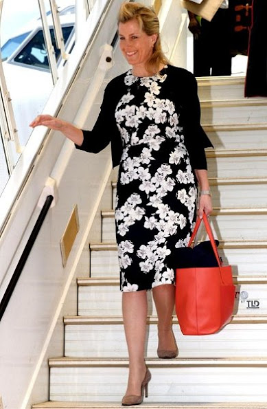 Countess Sophie wore Valentino Bell sleeve wool and silk blend dress and  Erdem Analena Dress, Prada suede pumps, and carried Smythson Panama Tote