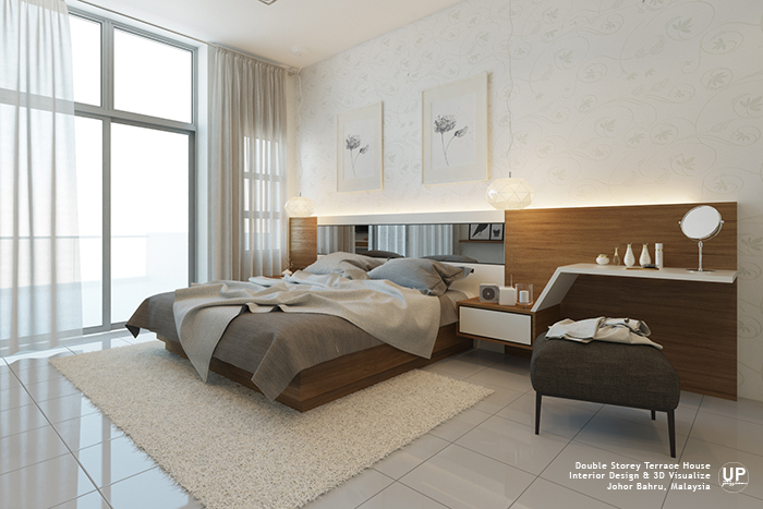 La Garden double storey terrace master bedroom in a color scheme of wood texture and white with floral wallpaper that giving a soft touch and bedhead link together with the dresser is the personalized design