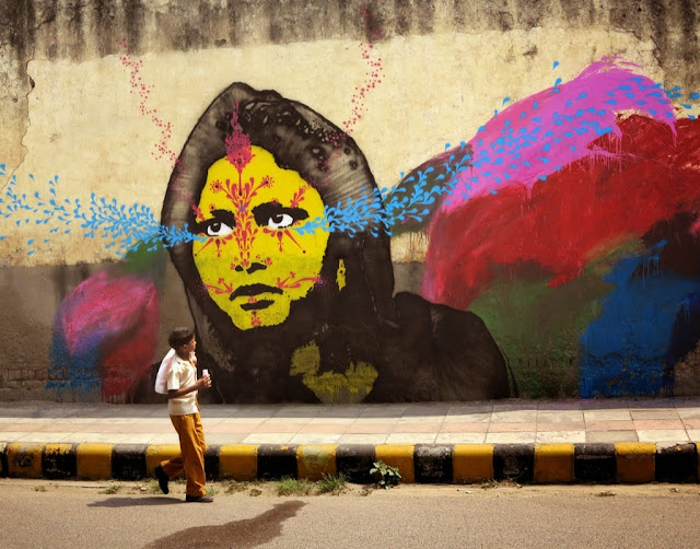 Colombian Street Artist Stinkfish Visits India Where He Dropped Several new Pieces. 2