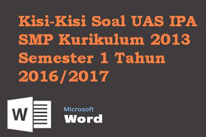 Kisi-Kisi Soal UAS IPA SMP/MTS Kelas 7 8 9  Kurikulum 2013 Tahun 2016/2017