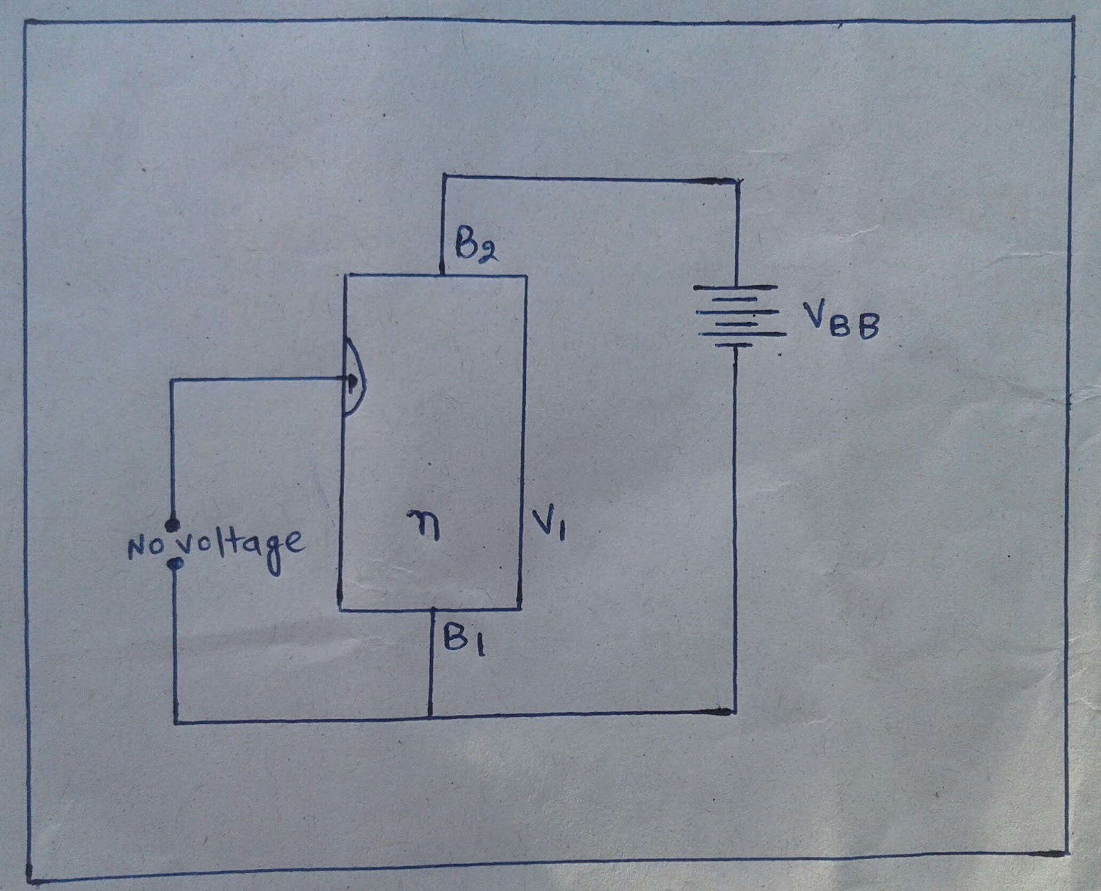 Physics Maths Lover Sawtooth Wave Generator Circuit Using Ujt Now The Voltage V1 Between Emitter And B1 Reverse Biases P N Junction Hence Current Is Cut Offhowever A Small Flows From B2 To