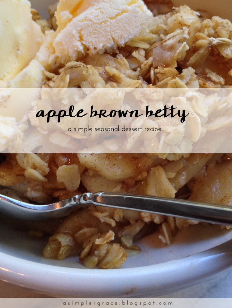 An autumn dessert with warm apples, cinnamon and hearty oats served with ice cream - Apple Brown Betty - A Simpler Grace