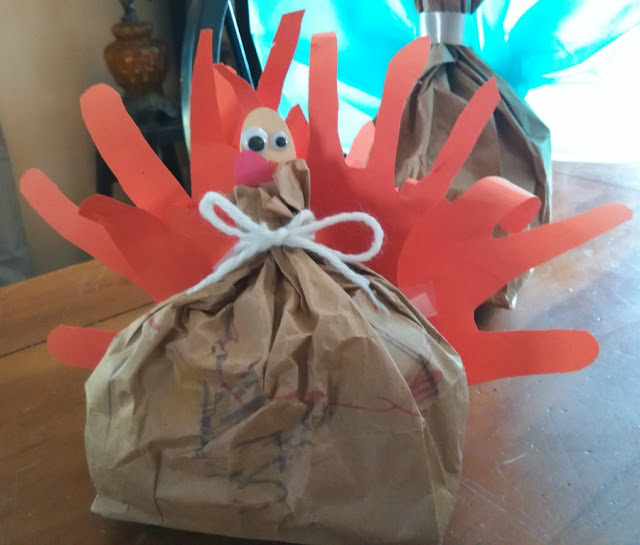 handprint paper bag turkey craft