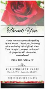 red rose floral funeral sympathy thank you card