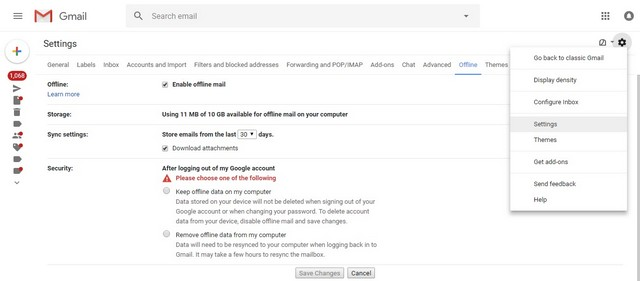 settings tab in gmail