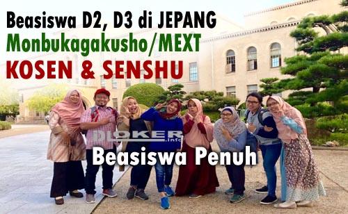 Beasiswa D2, D3 Full KOSEN / SENSHU Monbukagakusho (MEXT) 2020 Jepang