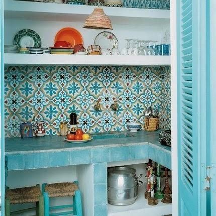 diseño de cocina celeste