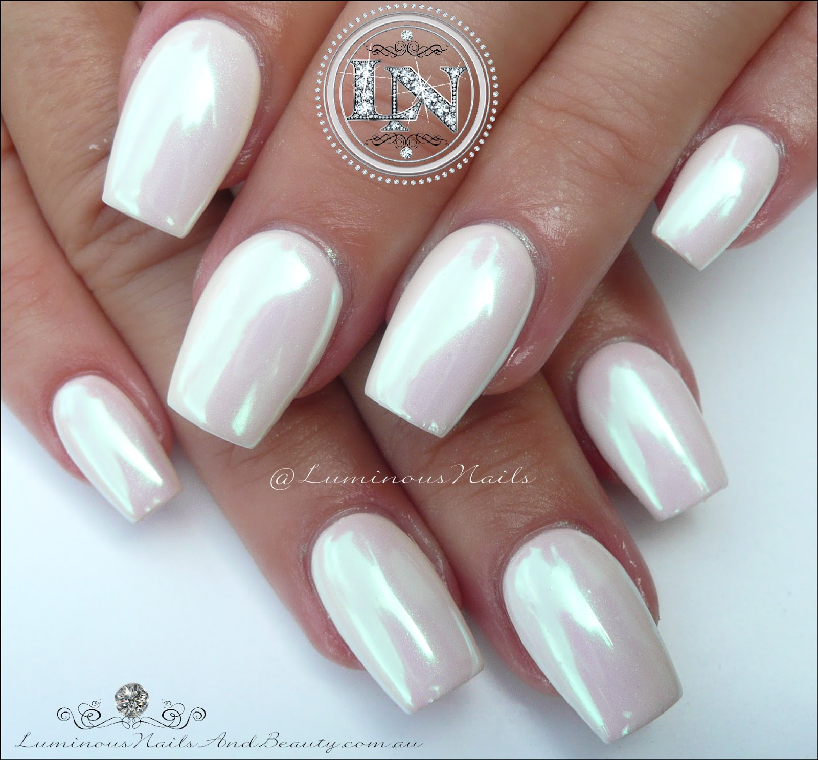 Luminous Nails: Gorgeous Pearly Chrome White Acrylic & Gel Nails.