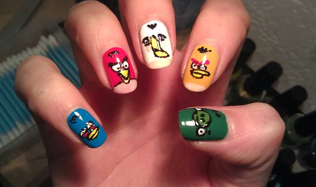 One Hundred Styles: Angry Bird Nail Art Designs