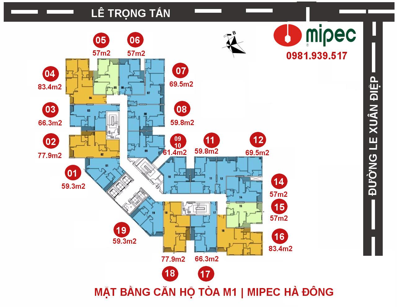Hình ảnh Mặt bằng căn hộ Mipec Hà Đông tòa M1