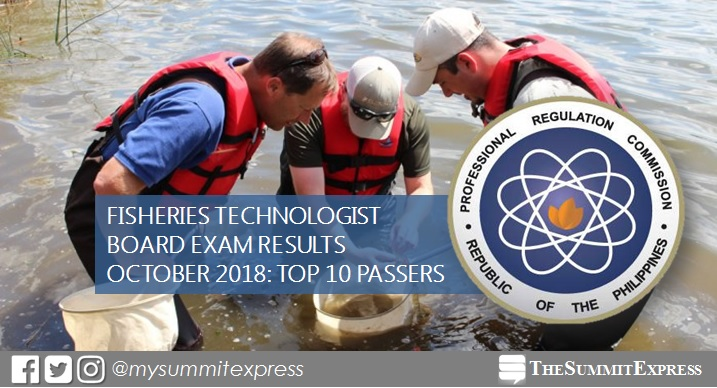 RESULTS: October 2018 Fisheries Technologist board exam top 10 passers