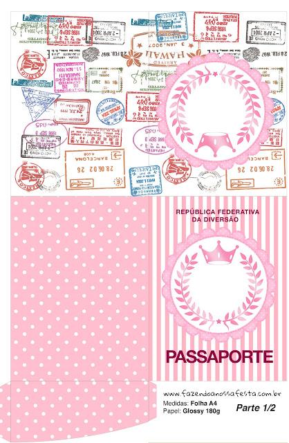 Imprimible con forma de Pasaporte de Corona Rosada.