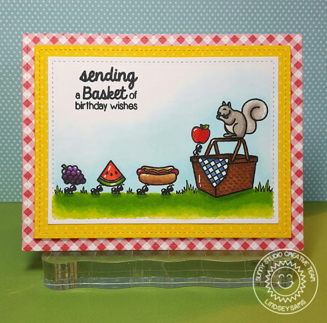 Sunny Studio: Summer Picnic Basket of Birthday Wishes Ant Card by Lindsey Bailey.