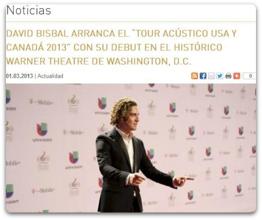 """David Bisbal Arranca El """"Tour Acústico USA Y Canadá 2013"""
