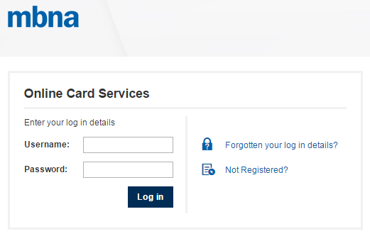 mbna credit card login page