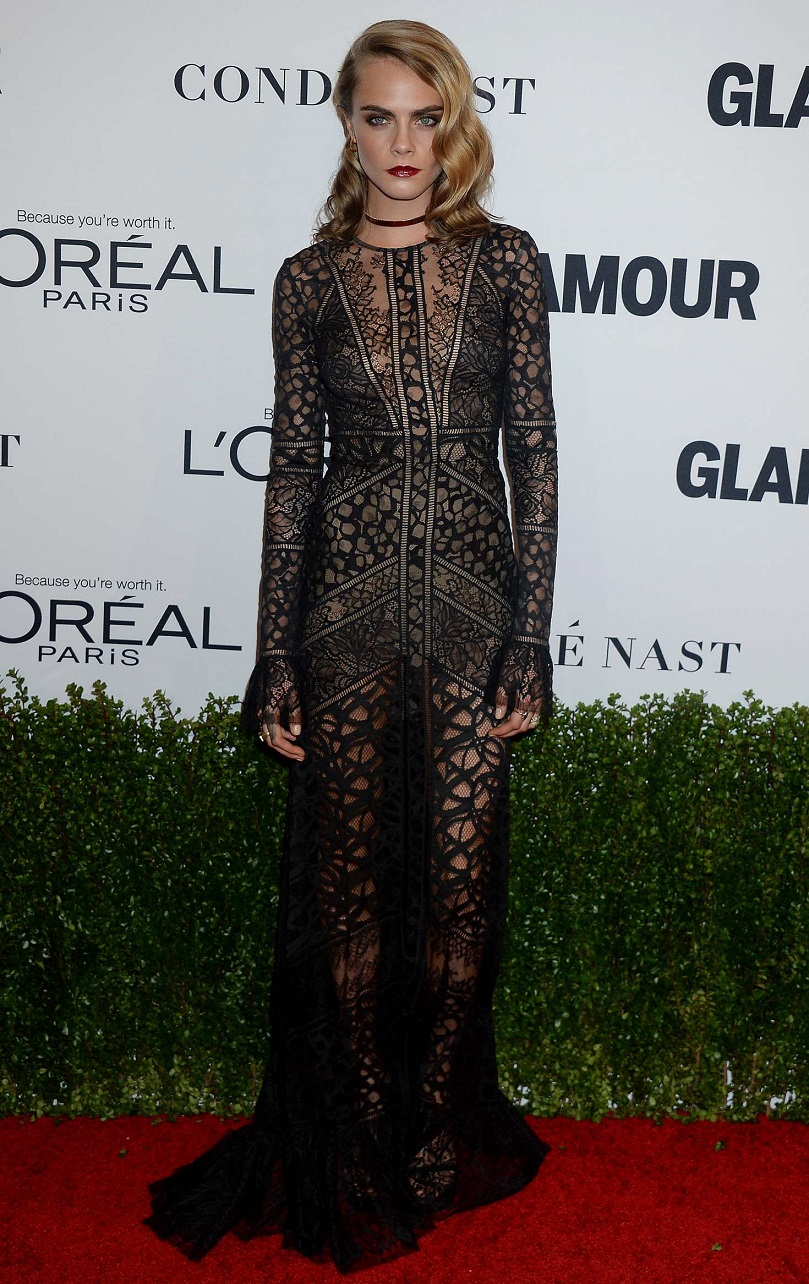 Cara Delevingne stuns in black see-through gown at Glamour Women Of The Year Awards