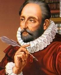 Dibujo de Miguel de Cervantes Saavedra con su pluma a color