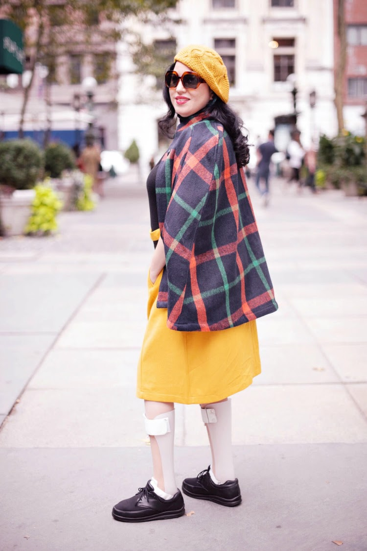 A Vintage Nerd, Modcloth, Fall Vintage Inspired Fashion, Plaid Cape, Vintage Blog, 1960s Style, Mustard Beret, Disability and Fashion, Leg Braces, Body Confidence, Curvy Con Fashion, Body Inspiration, Vintage Inspired Fashion